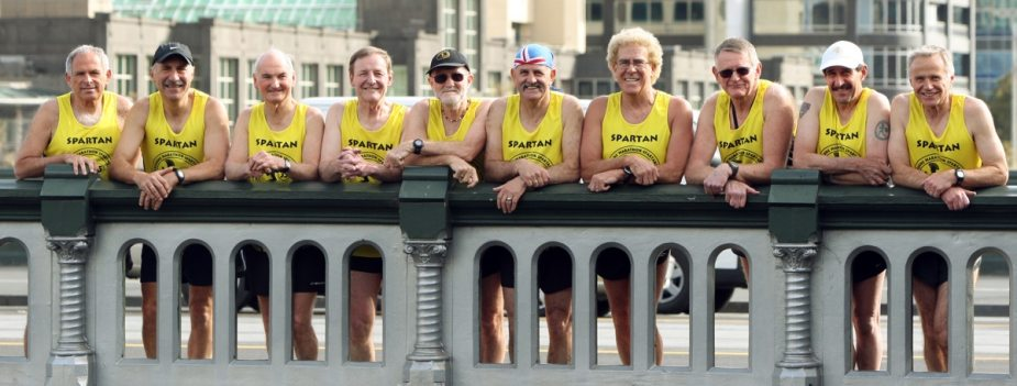 The ten Melbourne Marathon Spartan Legends before the 35th Melbourne