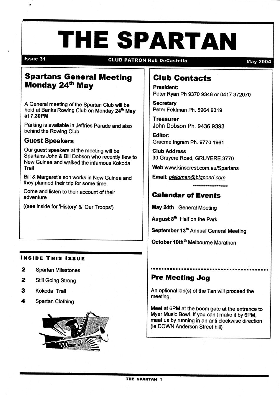 Newsletter May 2004 Melbourne Marathon Spartans